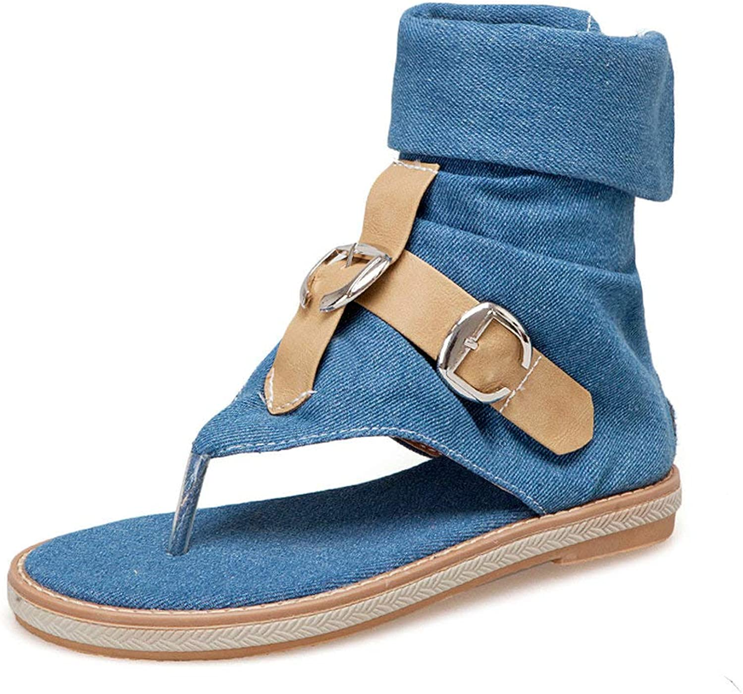 AnMengXinLing Casual Flat Sandals Women Flip Flops Denim Buckle Thong Summer Ankle Boots Comfortable Soft Rubber Sole Outdoor Breathable Walking shoes