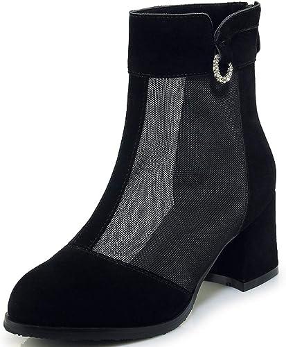 HommesGLTX Talon Aiguille Talons Hauts Sandales 2019 New Large Taille 33-43 Zipper Cheville Bottes Chaussures Femme Maille Chunky Talons Bottes De Mode Chaussures Femme