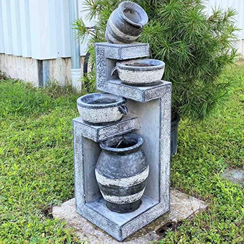 Asien Lifestyle Garten Kaskaden Brunnen (125cm) Töpfe Etagen Wandbrunnen Naturstein