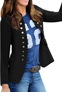 Roskiky Women Casual Solid Jacket Suit Open Front Stand Neck Buttons Work Blazer