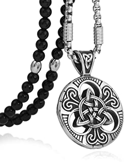 BLEUM CADE Stainless Steel Celtic Knot Magic Both Sided Pendant Necklace Natural Agate Stone Chain 26""