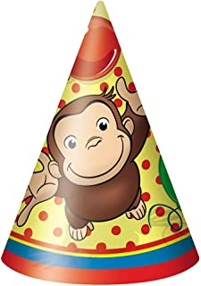 un 8 Curious George Happy Birthday Paper Party Cone Hats