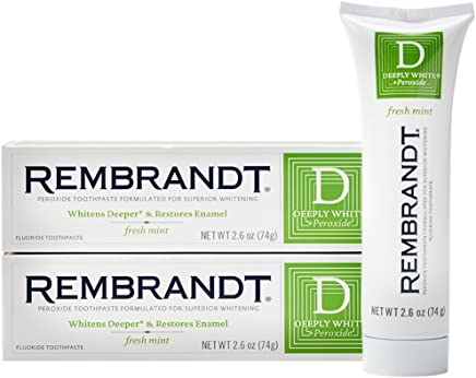 Rembrandt Deeply White + Peroxide Whitening Toothpaste 2.6 oz, 2 Pack, Fresh Mint Flavor