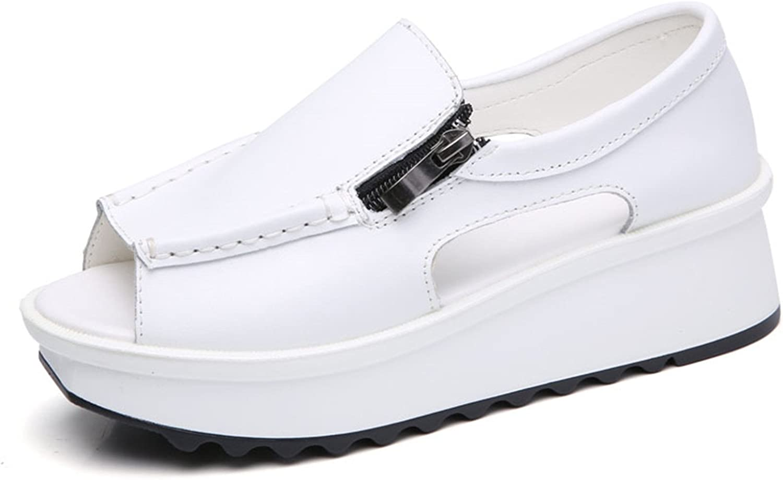 2018 Summer women sandals wedges sandals ladies open toe round toe zipper black silver white platform sandals shoes 8332 8332 White 5