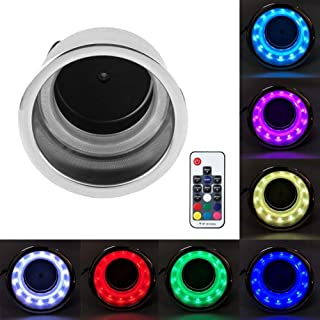 CT-CARID RGB Drink Cup Holder, Stainless Steel RGB LED Light Drink Cup Holder 7 Color Backlight with Remote Control for Marine Boat Truck RV Car Accessories 12V 3W