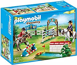 Fun for little equestrian fans: PLAYMOBIL Horse Show with water jumps, walls, and other accessories for accurate role-play 2 figures, 2 horses, 4 obstacles, Includes a fence for various assembly possibilities and many accessories, Can be combined wit...