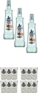 Puschkin Nuts & Nougat 3 x 0,7 Liter  Puschkin Shotglas mit Eichstrich 6 Stück  Puschkin Shotglas mit Eichstrich 6 Stück