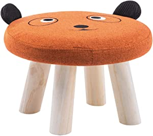 LPYMX Children's Stool, Sofa Stool, Solid Wood Stool (Color : Orange)