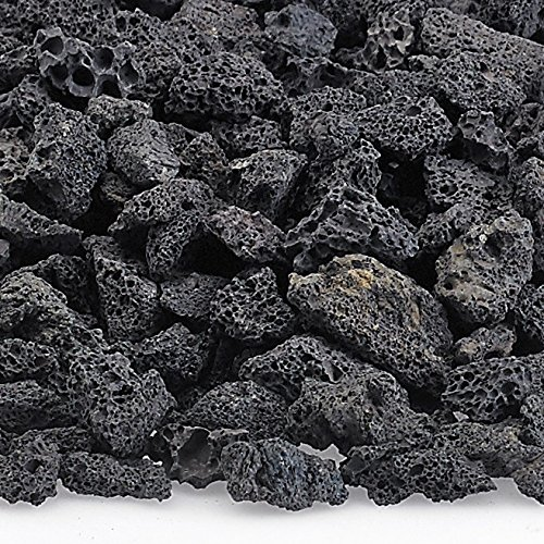 American Fireglass LAVA-S-10 American Fire Glass Small Sized Black Lava Rock – Porous, All-Natural, 1/4 Inch to 1/2 Inch Thick x 10 Pounds