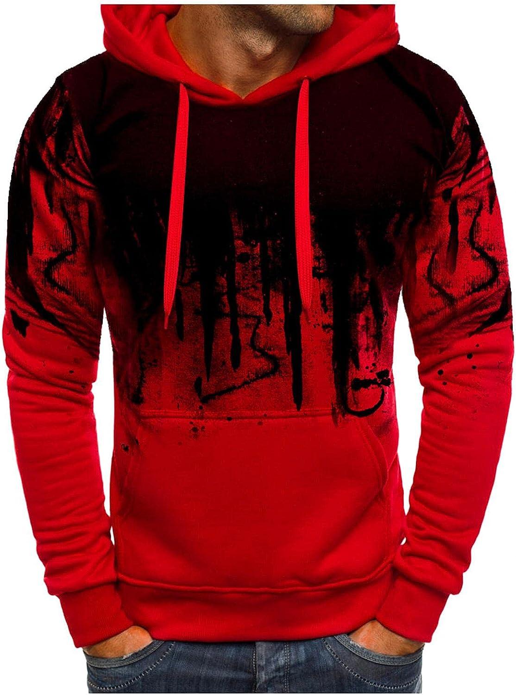 Men's Sweatshirts Ink-Splash Fashion Mens Athletic Hoodies Sport Sweatshirt Long Sleeve Pullover with Pocket