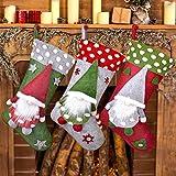 3er Set Nikolausstiefel zum Befüllen und und Aufhängen(50*25cm), TESECU Groß Weihnachtsstrumpf Beutel Nikolaussocken Klassische Kamin hängende Strümpfe Deko für Weihnachtsfeier Weihnachtsbaum Dekorie