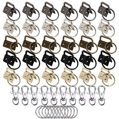 Nsiwem Schlüsselband Rohlinge 30 Stück Klemmschließeanhänger mit Schlüsselring 25mm und 10 Sets taschenkarabiner Schlüsselring für Herstellung von Schlüsselbändern DIY
