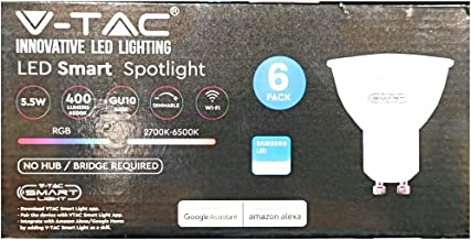 6 Pieces V-Tac LED RGB Smart Spotlight GU10 5.5W Work with Google & Alexa
