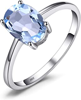 JewelryPalace Natural Gemstones Garnet Peridot Amethyst Citrine Blue Topaz Birthstone Solitaire Rings For Women For Girls 925 Sterling Silver