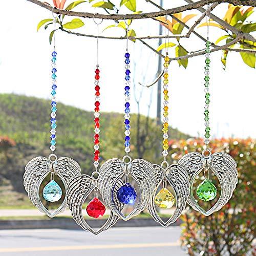 H&D 5 Stück Kistall Metall Engel Flügel Regenbogen Sonnenfänger Hängende Kugel prismen Fenster Dekor
