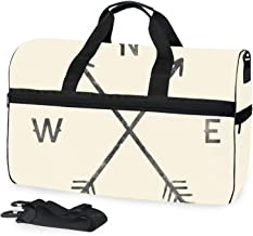 Arrow Compass North South West East Oversized Canvas Genuine Leather Trim Travel Tote Duffel Shoulder Weekend Bag Weekender Overnight Carryon Handbag