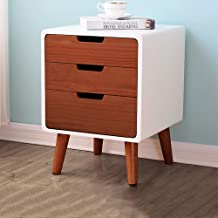 Modern Pine 3-Tier End Table,Large Storage Space Nightstand for Bedroom,Accent Furniture for Living Room Office Bedside Ta...