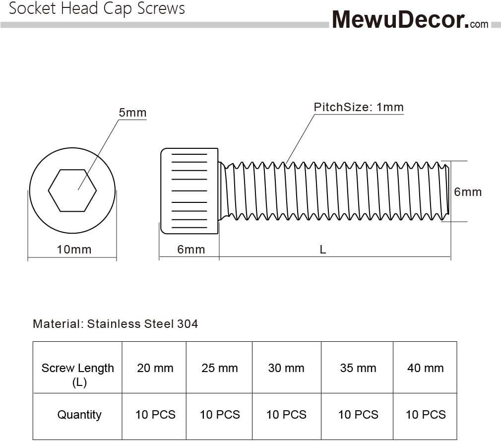 16mm Stainless Steel 304 10mm Bright Finish 50 PCS Socket Head Cap Screw Assortment Set 12mm and 20mm M6 x 8mm