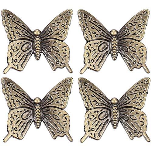 Zhi Jin Lot de 4 poignées de meuble en bronze avec motif papillon 40 mm