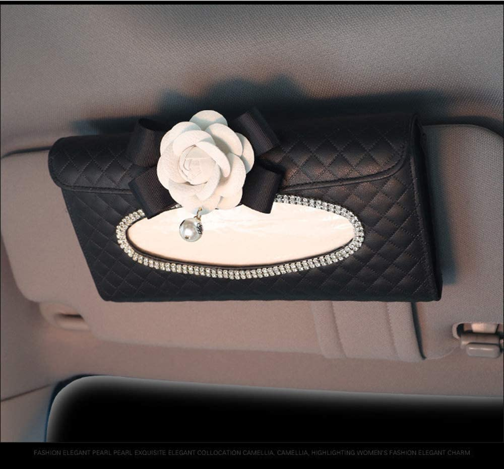LZLRUN Camellia Flower Bling Crystal Box S Rhinestone Tissue New Orleans Mall Car New life