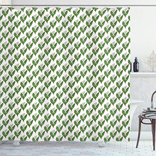 Lunarable Apothecary Shower Curtain, Symmetric and Repetitive Pattern with Lily of The Valley Print, Cloth Fabric Bathroom Decor Set with Hooks, 75' Long, Fern Green and White