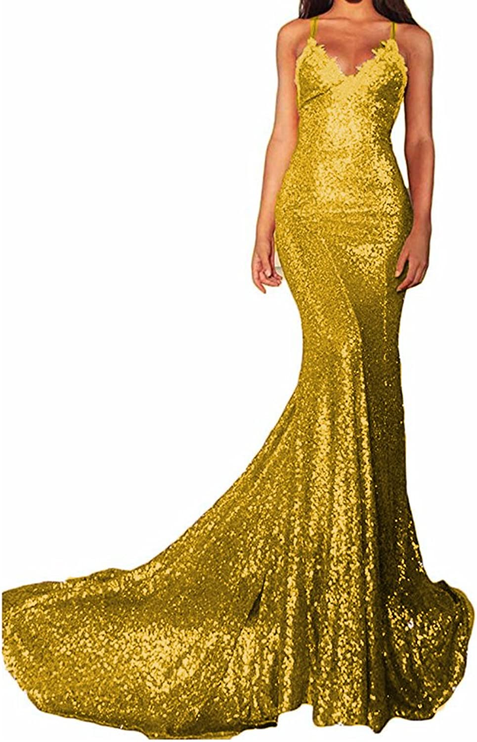 Beautydress Womens Mermaid Sequins Long Train Prom Dress for Evening Party BP067