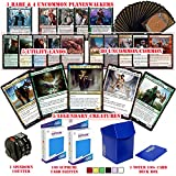 Totem World Commander Deck EDH Bundle Lot: 5 Legendary Creatures, 5 Planeswalkers, 5 Special Lands, 80 MTG Cards with 160 Card Sleeves, Spindown Counter and 100+ Card Deck Box