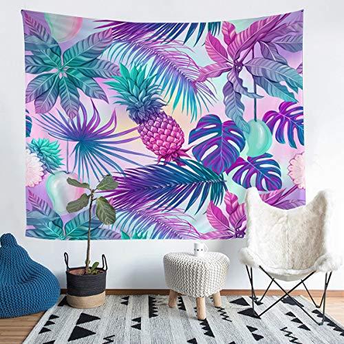 Manta de pared con hojas tropicales para colgar en la pared, diseño de piña, hoja de palma, para niños y niñas, temática de naturaleza botánica, microfibra, manta de cama grande, 122 x 189 cm