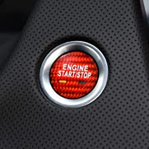 AIRSPEED Carbon Fiber Car Engine Start Button Sticker for Cadillac XTS XT5 CT6 SRX CTS Escalade CT6 Plug in Accessories (Red)