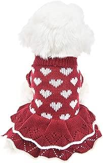 MUYAOPET Small Dog Sweaters Female Girl Red Winter Warm Dog Princess Dress Clothes Dachshund Chihuahua Corgi