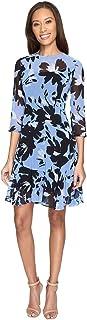 Donna Morgan Women's 3/4 Sleeve Aline Poly Chiffon Dress W/Circle Flouce
