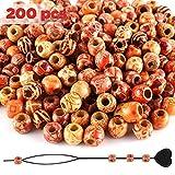 SOSMAR 200Pcs x 12mm Holzperlen mit Perlen Einfädler, Gemischte Muster & Großes Loch 5mm Perlen Kugeln für basteln auffädeln DIY und Haar Bart Dreadlocks Schmuck etc.