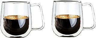 Vicloon Cristal Vidrio de Doble Pared, Taza de Cafe Doble 250 ml, Tazas de Café Resistentes al Calor, Doble Pared de Vidrio de Borosilicato Adecuado para Té, Café, Capuchino (Set de 2)