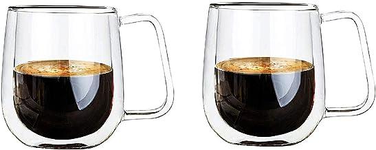 Vicloon dubbelwandige glazen mokken, kopjes van borosilicaatglas, voor thee, koffie, latte, cappuccino, espresso, bier, 25...