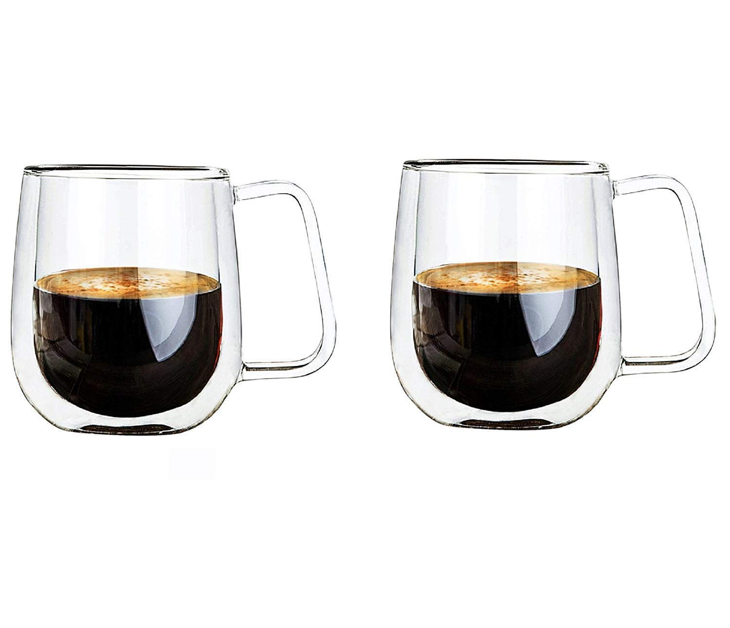 Vicloon Double Walled Glass Mugs,Borosilicate Glass Cups,for Tea,Coffee,Latte,Cappuccino,Espresso,Beer,250ml