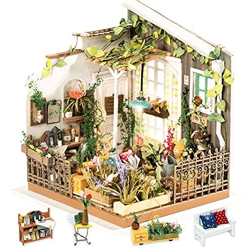 Rolife Miniatur Puppenhaus mit Licht Open Garden Modell Set Mini Holzhaus für Erwachsene Mädchen(Mlller\'s Garden)