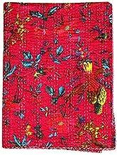 FashionShopmart Indian Cotton Kantha Quilt Bedspread Twin Size Bird Print Kantha Stitch, 60 X 90 inches (Pink)