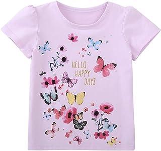 قميص Yoriko Girls Butterfly بأكمام قصيرة لملابس الصيف للأطفال
