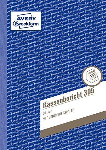 AVERY Zweckform 305 Kassenbericht (A5, mikroperforiert, von Rechtsexperten geprüft, für Deutschland und Österreich zur ordnungsgemäßen, kostengünstigen Buchführung, 50 Blatt) 10er Pack