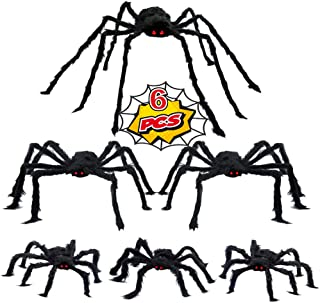 Wesprex 6 Pack Halloween Realistic Spider Decoration Set, Scary Hairy Spiders with Red Eyes and Bendable Legs for Patio, Y...
