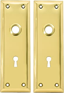 Pair of Brass Plated New York Style Back Plates with Keyhole
