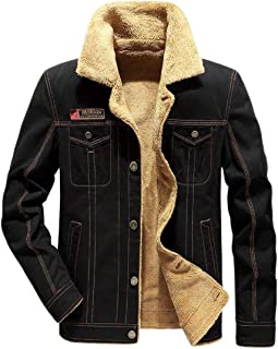 Mens Plus Velvet Military Thickened Outwear Plus Size Denim Jackets