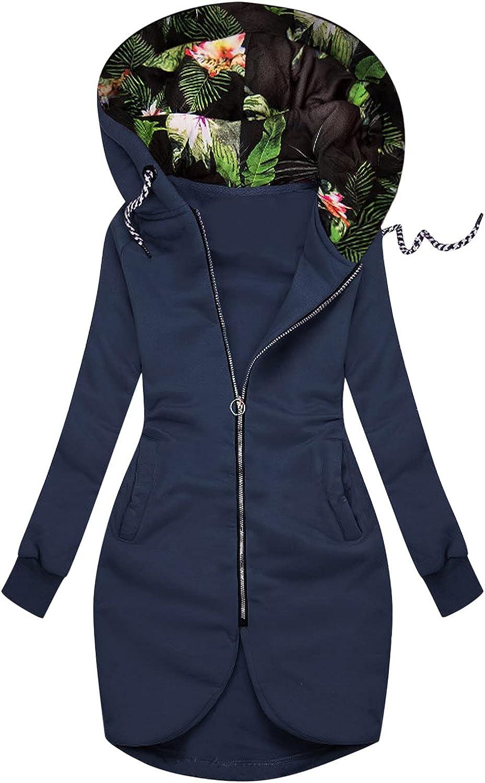 Women Autumn Sweatshirt Coat Flower Print Drawstring Hooded Outerwear Double Zipper Thumb Hole Sleeve Pocket Slim Jacket