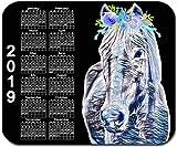 Benutzerdefiniertes mauspad, Personalisiertes mauspad mit jahreskalender 2019 - aquarellpferd - fügen sie einen beliebigen text hinzu