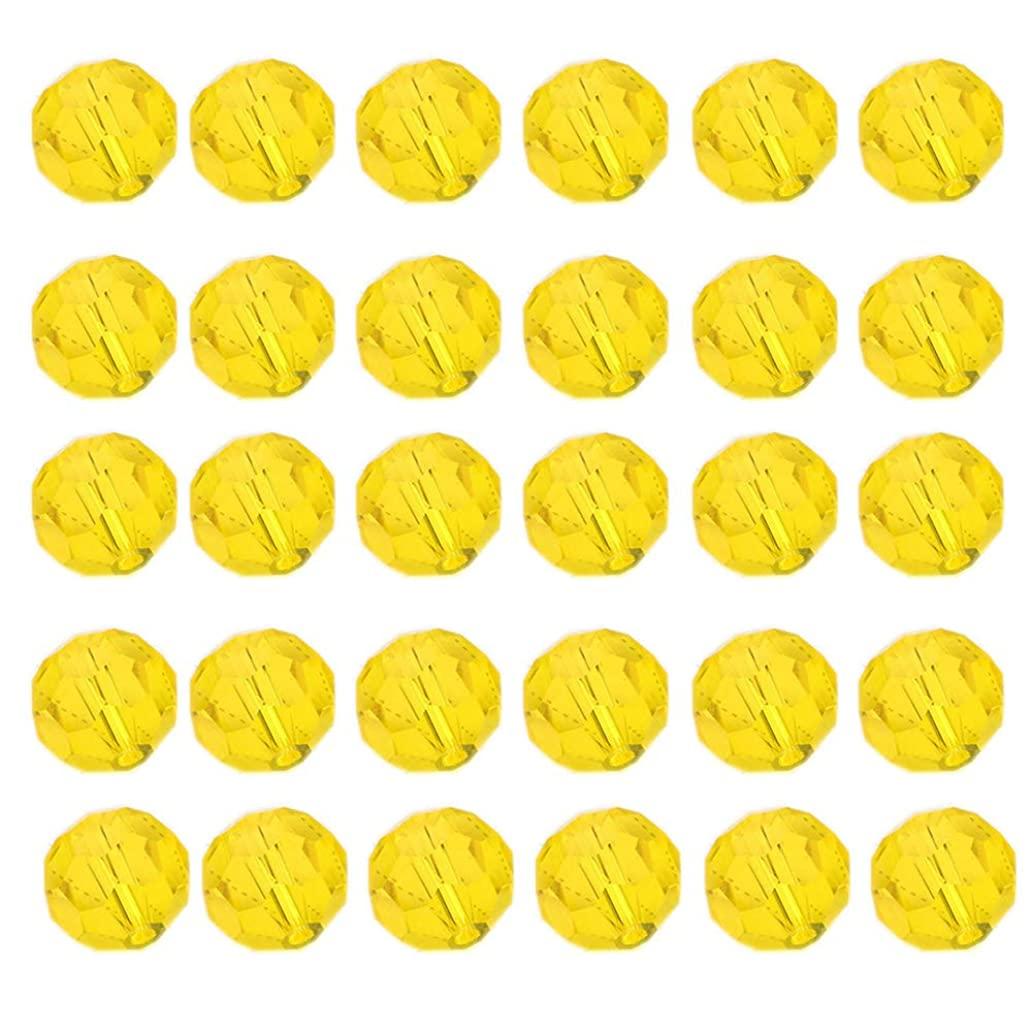 Mystart 200 Pieces Faceted Crystal Glass Beads Bracelets Necklaces Loose Beads Door Curtain Beads (Golden Yellow)
