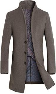 Lavnis Men's Trench Coat Long Wool Blend Overcoat Slim Fit Down Topcoat