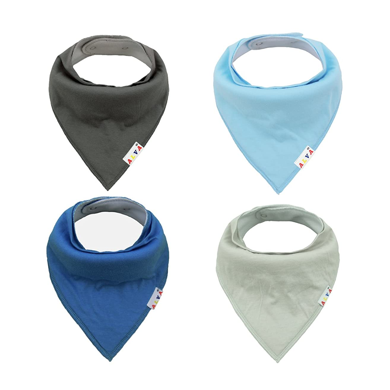 ALVABABY Bandana Bibs for Boys and Girls 4 Pack of Super Absorbent Baby Gift Sets KSD03