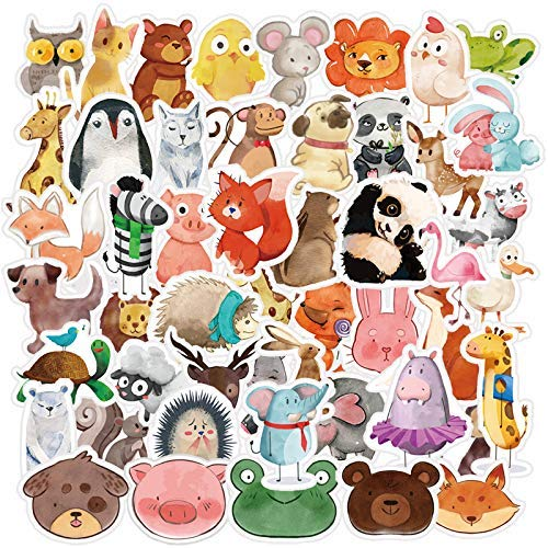 YAMIOW Waterproof Vinyl Sticker for Bike Water Bottle Travel Case Skateboard Guitar Laptop Guitar Car Luggage Book Decal Graffiti Stickers (50 pcs for Watercolor Animals Style)