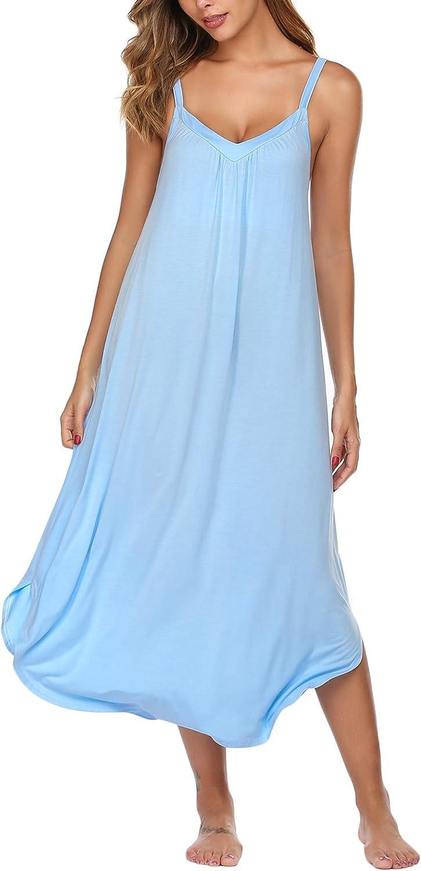 Ekouaer Long Nightgown Sexy Full Slips Sleepwear Summer Sleeveless Nightshirt Loose Chemise Lounge Dresses for Women S-XXL
