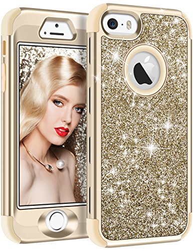 Vofolen Case for iPhone SE Case iPhone 5S Case Glitter Bling Shiny Heavy Duty Protection Full-Body Protective Cover Hard Shell Hybrid Silicone Rubber Armor + Front Bumper for iPhone 5 5S SE Gold